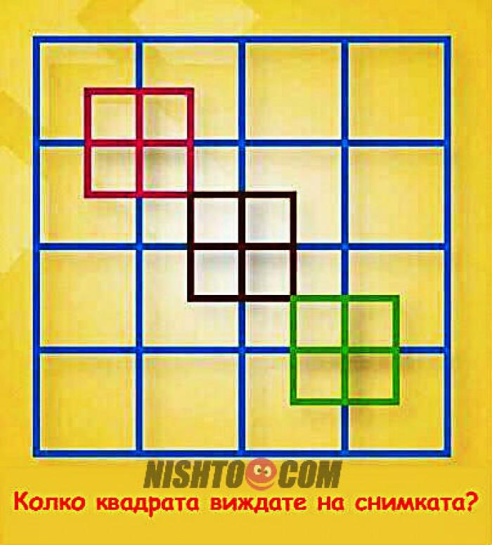 Вицове: Колко квадрата виждате на снимката?