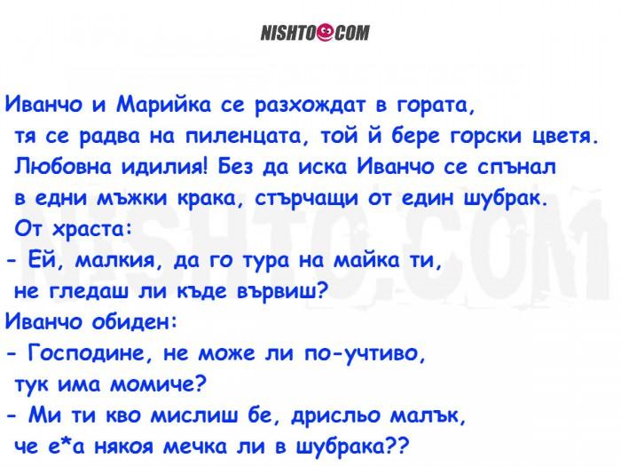 Вицове: Иванчо и Марийка се разхождат в гората, тя се радва на пиленцата, той й бере горски цветя