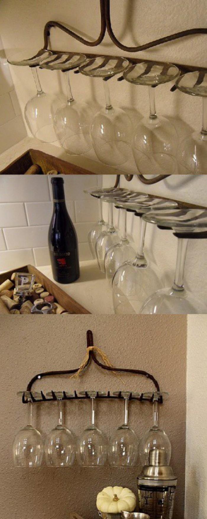 Вицове: Греблото се превръща в удобна поставка за чаши