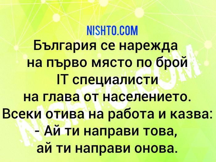 Вицове: България се нарежда на първо място по брой IT специалисти на глава от населението