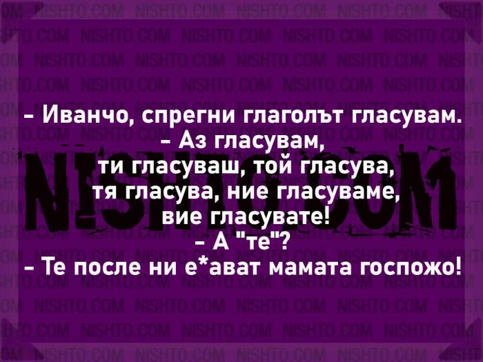 Вицове: Иванчо, спрегни глаголът гласувам